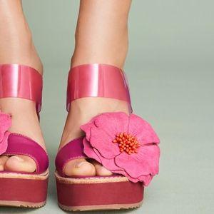 Anthropologie Bill Blass Hibiscus Wedge Sandals